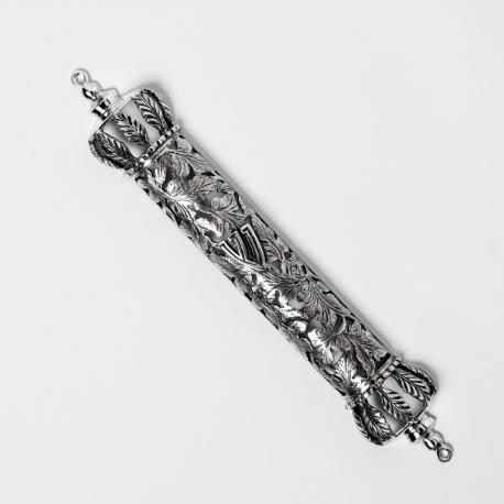 Mezuzah foglie in argento
