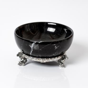 Saliera marmo nero e argento