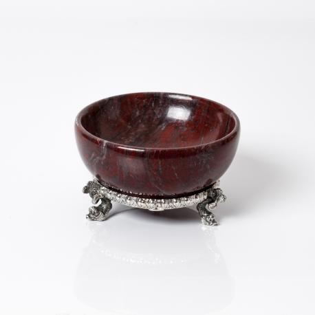 saliera in marmo rosso con base in argento