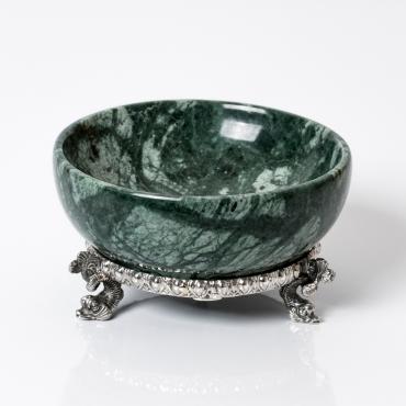 Saliera marmo verde e argento