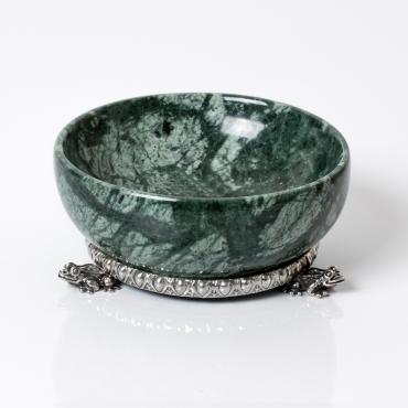 "Saliera marmo verde e base argento ""Rana"""