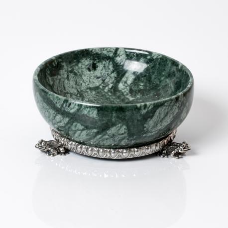 Saliera marmo verde e base argento